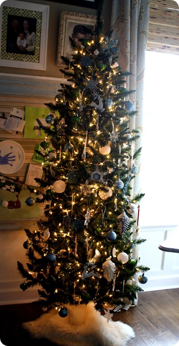 white blue green silver tree