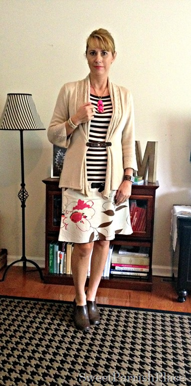 floral skirt and stripes