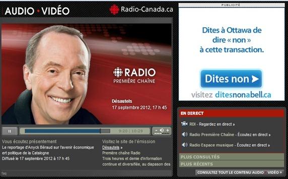 Catalogne sus Radio Canada