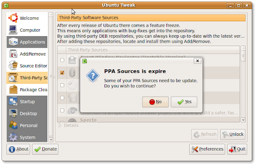 Ubuntu Tweak 0.4.7.2 : Check expire PPA