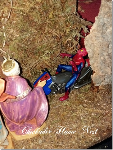 Spiderman at the nativity scene