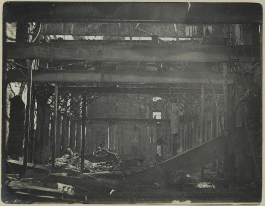 The interior of the GPO was totally destroyed by fire, and staff re-located to temporary offices for a number of years before the building was re-opened in the 1920s