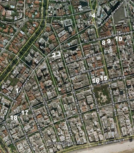 Mapa Ruas Oeste numbers