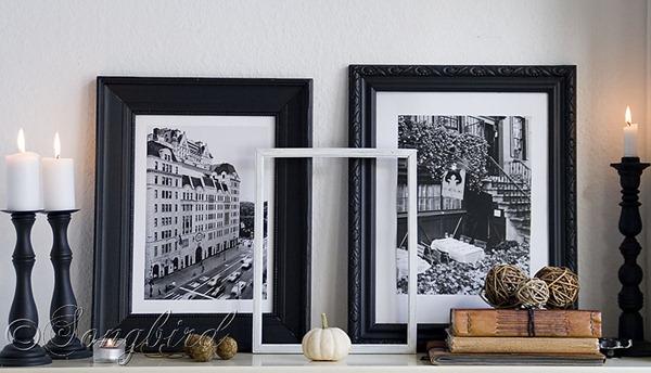 Fall Black and White Mantel
