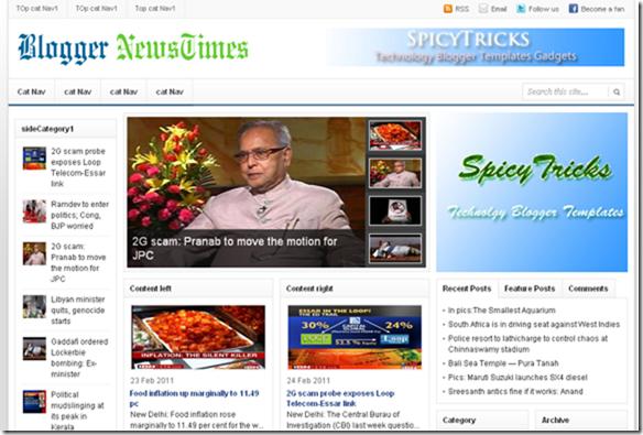 blogger news times  blogger template