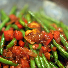 Sauteed Haricots Verts, Red Bell Peppers, and Pine Nuts
