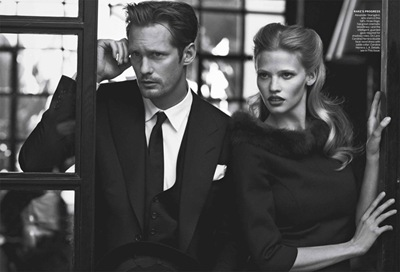 Alexander Skarsgård by Peter Lindbergh + Lara Stone, Vogue, July 2011