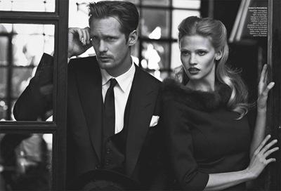 Alexander Skarsgård by Peter Lindbergh + Lara Stone, Vogue, July 2011