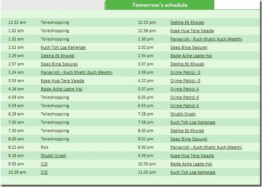 Sony TV Schedule Tomorrow