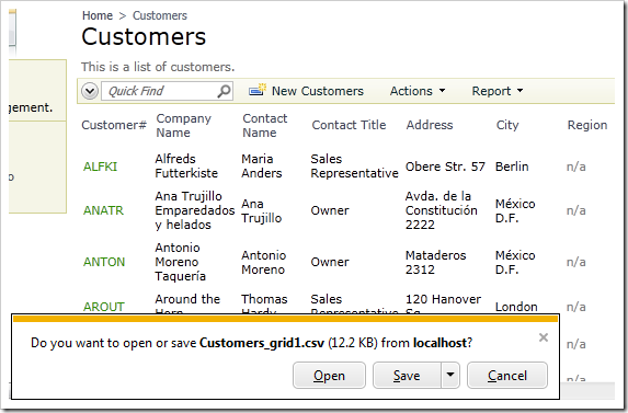 Customers generated report file named after the controller and view.