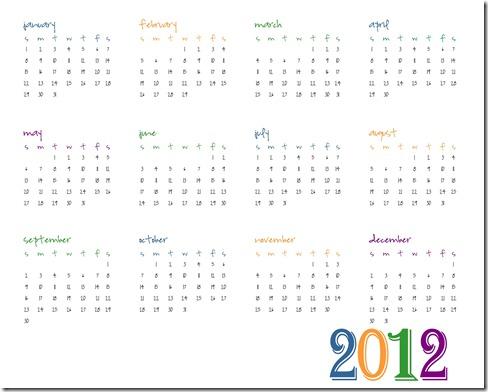 2012 Calendar Printable SJB