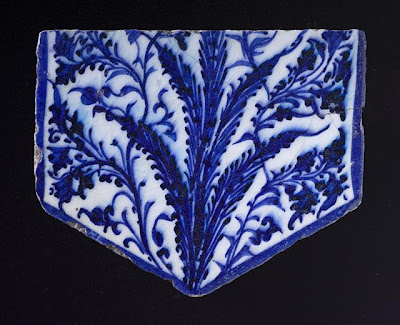 Tile | Origin: Egypt or Syria | Period:  early 15th century | Collection: Shinji Shumeikai Acquisition Fund (M.2001.85.3) | Type: Ceramic; Architectural element, Fritware, underglaze painted, 5 3/4 x 7 x 3/4 in. (14.61 x 17.78 x 1.91 cm)