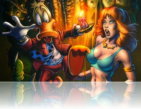 Howard the Duck saving some radical damsel in distress