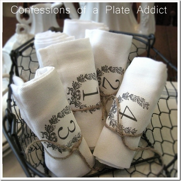 CONFESSIONS OF A PLATE ADDICT French Farmhouse Numbered Napkins