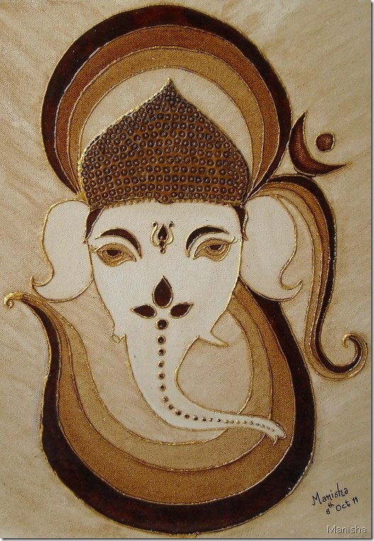 Coffee Painting Om-Ganesha