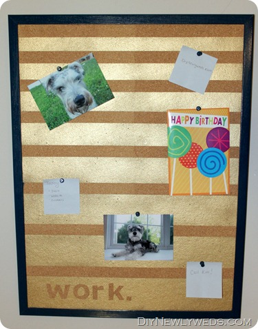 diy spray painted cork board
