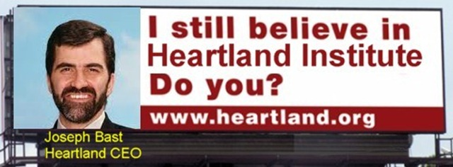 Parody of the aborted Heartland Institute billboard campaign against climate science, featuring Joseph Bast, CEO of Heartland. via Horatio Algeranon / tamino.wordpress.com