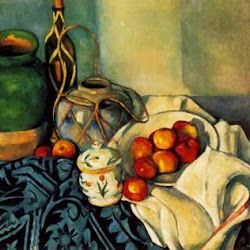 Paul Cezanne (1890-1894): Still Life with Olive Jar, Ginger Pot, Rum Bottle, Sugar Pot, Blue Rug and Apple. Colección privada.. Postimpresionismo