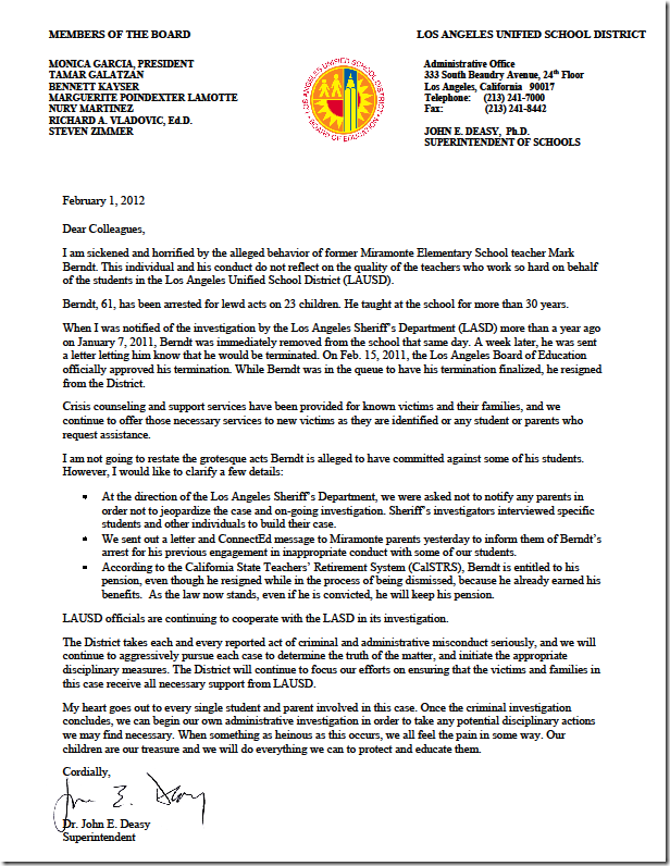 school superintendent cover letter Dear superintendent _____ and board, i was surprised to learn that section 9528 of the no child left behind act of 2001 requires high schools to release students' private information to military recruiters unless they and their families opt out in.