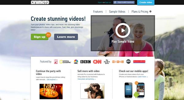 Animoto: laman pembikinan video dalam talian