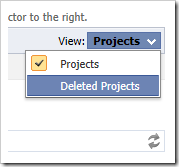 Viewing deleted projects by using the view selector.