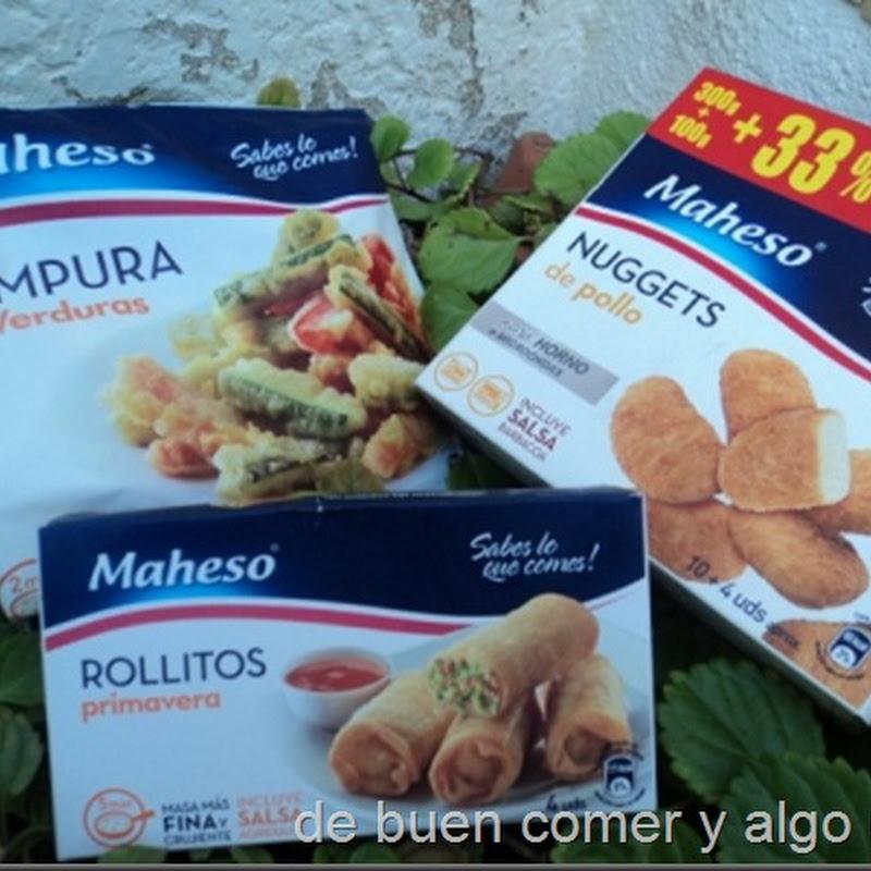 TEMPURA DE VERDURA,ROLLITOS PRIMERAVERA Y NUGGETS MAHESO