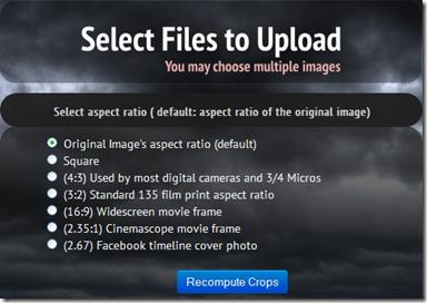 Croppola caricare foto e indicare aspect ratio