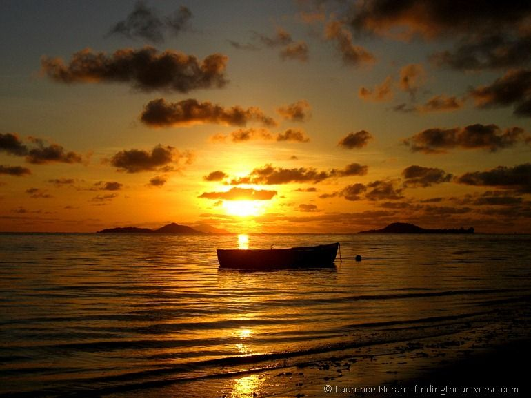 Seychelles boat sunset