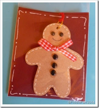 Wooden gingerbread man tag. tree decoration.