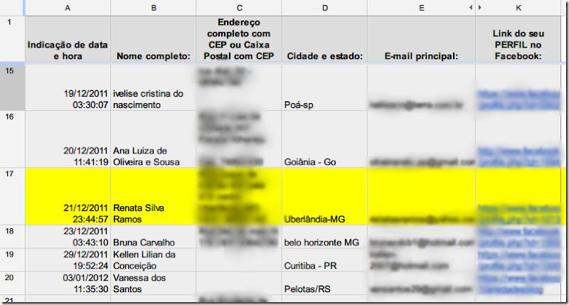 Planilha de participantes