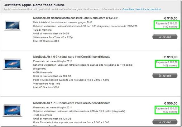 Lista MacBook ricondizionati Certificati Apple come se fosse nuovo