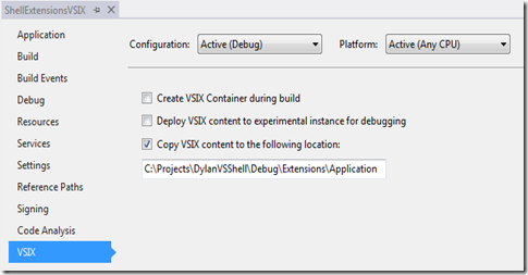 ShellExtensionsVSIX Configuration