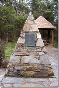 Pyramid monument where home use to exist where Marshall was born