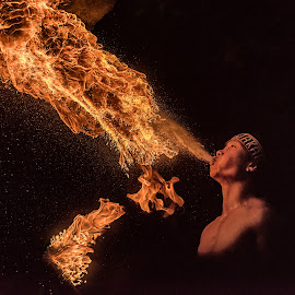 Fire Breather by Arpan Dalal - People Professional People ( jurong bird park, fire spitting, singapore )