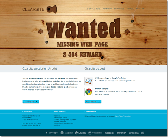 404 Error Page Design - clearsite