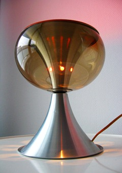 Aluminum and smoke Lucite shade lamp