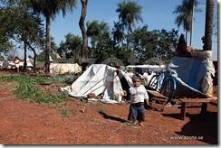 Camps de fortune des Guaranis, au bord de la route