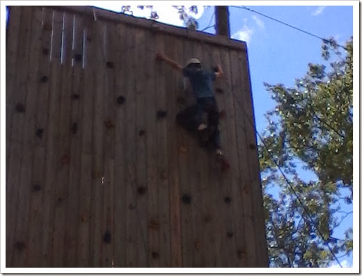 Zachary on climbing wall