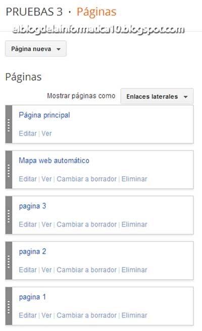 Gadget Páginas en Blogger - Crear páginas nuevas