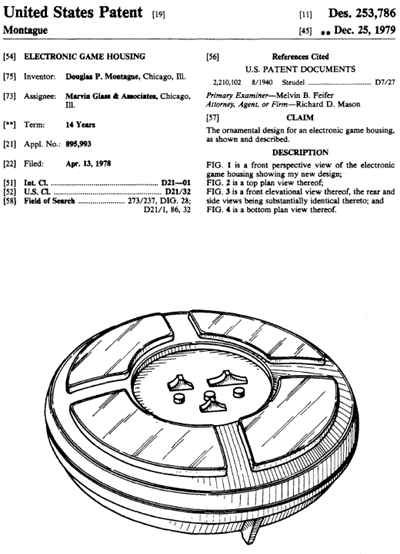 "United States ""Electronic Game Housing"" design patent, number 253,786"