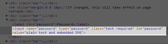 My Dish source code with the password re-typed