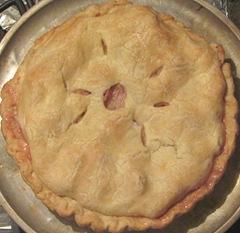 rhubarb pie baked