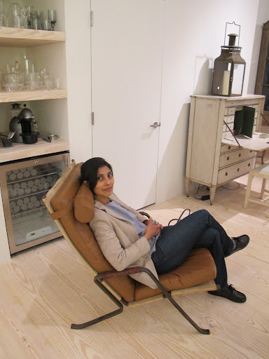 Ayesha looks right at home in this Grasshopper lounge chair.