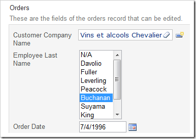 Employee Last Name lookup field configured as a List Box with 8 rows.