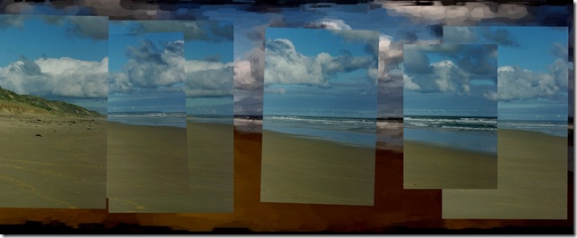 Collage of images overlayed on art version of the panorama above