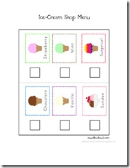 Pretend play preschool ice cream store spell out loud icecreammenuweb pronofoot35fo Choice Image