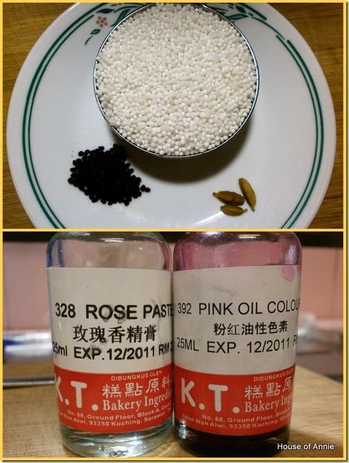 Ingredients for Rose Cardamom Sago Gula Melaka