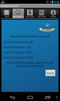 Screenshot of Royalty Rewards Member App