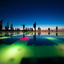 Freedom  by Davor Strenja - City,  Street & Park  Street Scenes ( water, red, sky, freedom, pannel, green, stars, sunset, power, sea, solar, zadar )