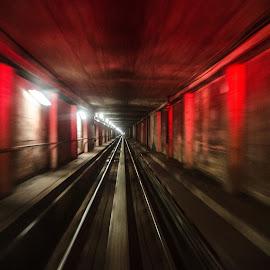 Red Tunnel by Cory Bohnenkamp - Transportation Trains ( red, train, tracks, underground, transit, skytrain, tunnel )
